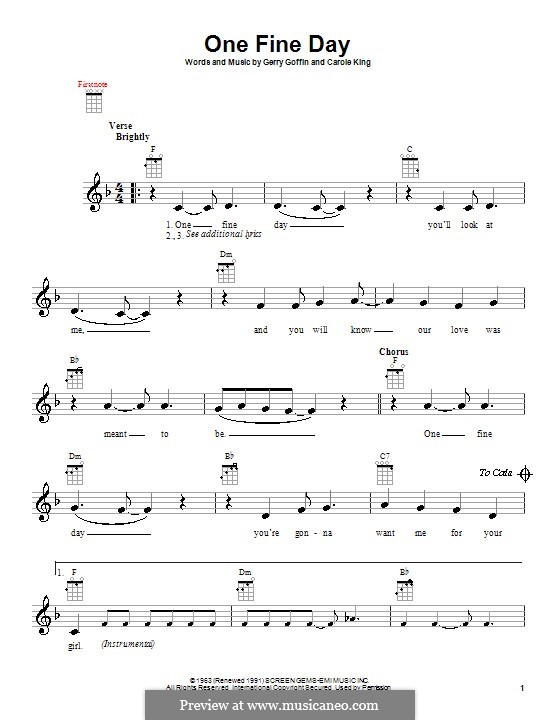 One Fine Day (Rita Coolidge): para ukulele by Carole King, Gerry Goffin