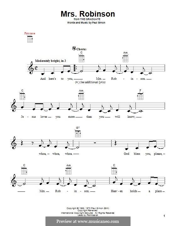 Mrs. Robinson (Simon & Garfunkel): para ukulele by Paul Simon