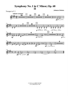 Symphony No.1 in C Minor, Op.68: Movement II - Trumpet in C 2 (Transposed Part) by Johannes Brahms