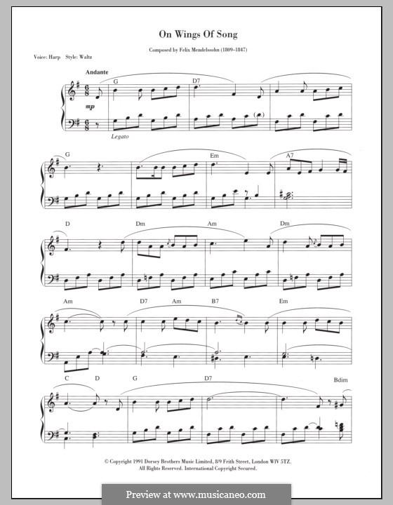 Six Songs, Op.34: No.2 Auf flügeln des gesanges (On Wings of Song). Version for keyboard by Felix Mendelssohn-Bartholdy