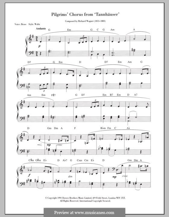 Choir of Pilgrims: para teclado by Richard Wagner