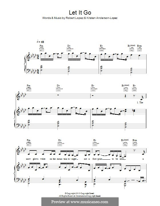 Let It Go (from Frozen): Para vocais e piano (ou Guitarra) by Robert Lopez, Kristen Anderson-Lopez