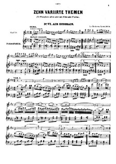Ten Themes with Variations for Flute (or Violin) and Piano, Op.107: livro II by Ludwig van Beethoven