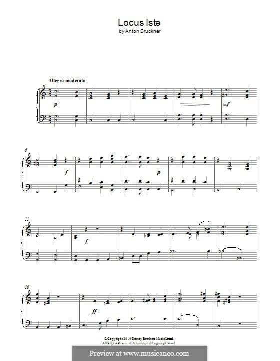 Locus Iste, WAB 23: Para Piano by Anton Bruckner