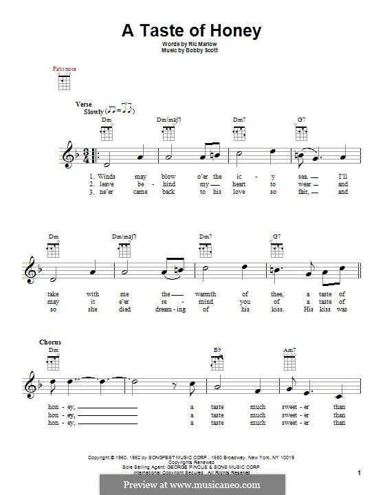 A Taste of Honey (Barbra Streisand): para ukulele by Bobby Scott