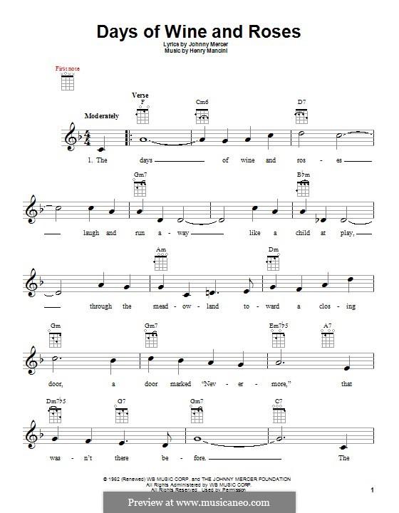 Days of Wine and Roses: para ukulele by Henry Mancini