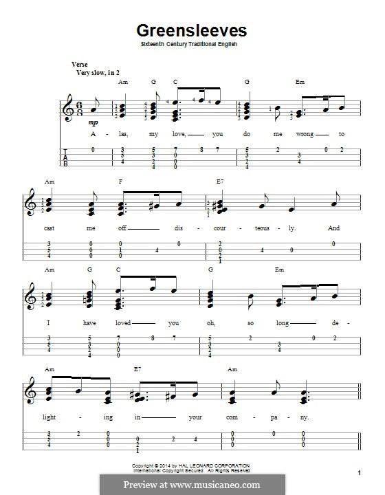 Greensleeves (Printable scores): para ukulele by folklore