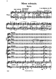 Missa Solemnis, Op.123: Kyrie, piano score with vocal parts by Ludwig van Beethoven