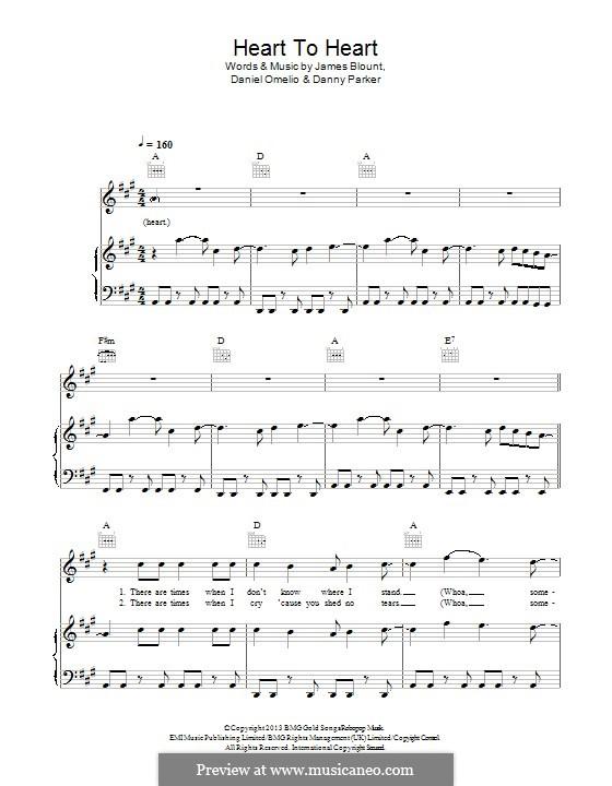 Heart to Heart: Para vocais e piano (ou Guitarra) by Daniel Omelio, James Blunt, Danny Parker
