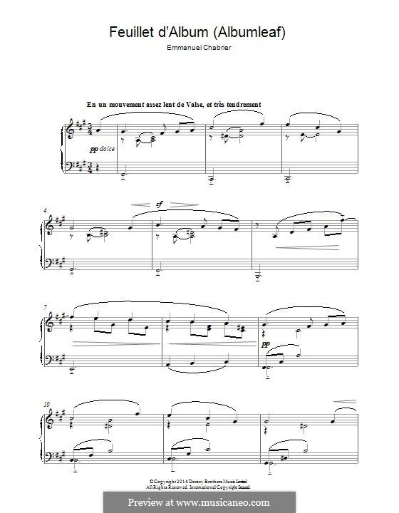 Feuillet d'album: Para Piano by Emmanuel Chabrier