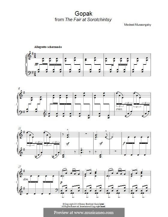 Gopak: Para Piano by Modest Mussorgsky