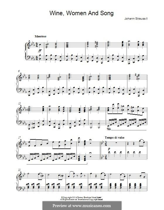 Wine, Women and Song, Op.333: Para Piano by Johann Strauss (Sohn)
