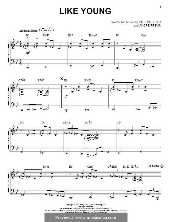 Like Young: Para Piano by Paul Francis Webster