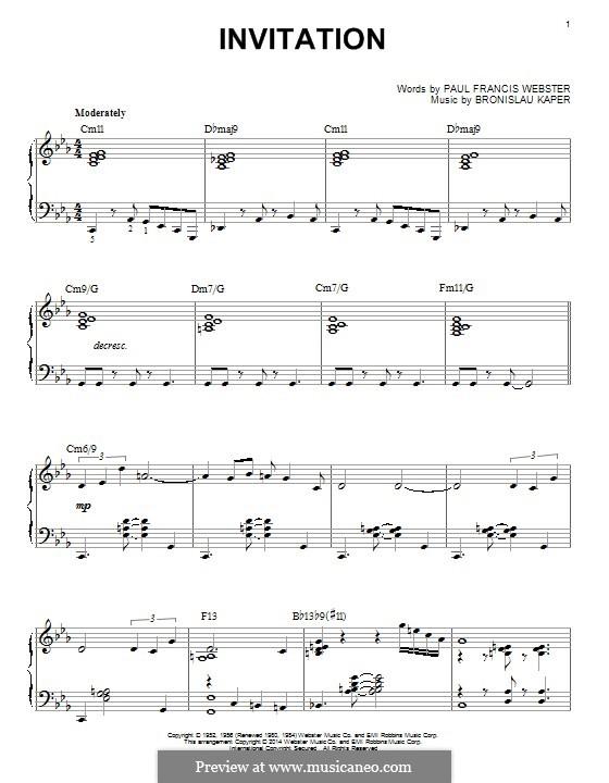 Invitation: Para Piano by Bronislau Kaper