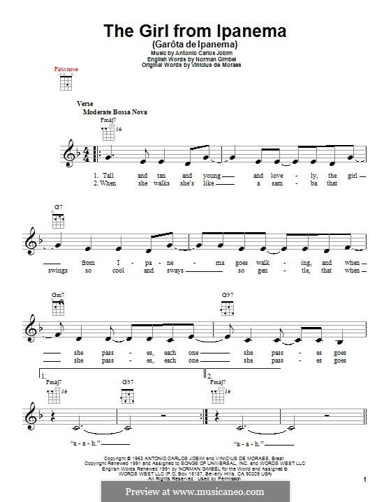 The Girl from Ipanema (Garota de Ipanema): para ukulele by Antonio Carlos Jobim