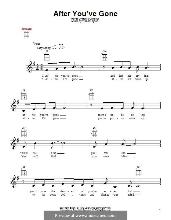After You've Gone (Sophie Tucker): para ukulele by Henry Creamer, J. Turner Layton