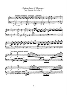 Concerto for Piano and Orchestra No.3, Op.37: Cadenza to Movement I by Ludwig van Beethoven