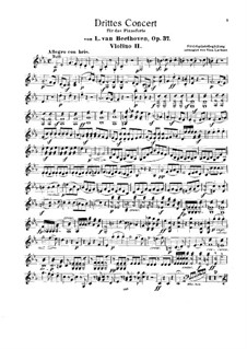 Concerto for Piano and Orchestra No.3, Op.37: Version for two pianos and string quintet – violin II part by Ludwig van Beethoven