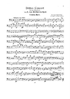 Concerto for Piano and Orchestra No.3, Op.37: Version for two pianos and string quintet – double bass part by Ludwig van Beethoven