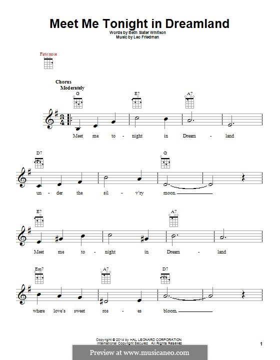 Meet Me Tonight in Dreamland: para ukulele by Leo Friedman