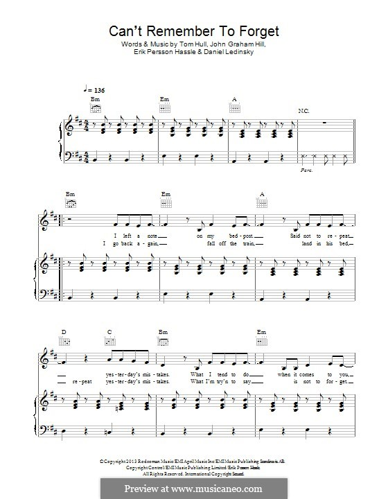 Can't Remember to Forget You (Shakira feat. Rihanna): Para vocais e piano (ou Guitarra) by Erik Hassle, Tom Hull, John Hill, Daniel Ledinsky