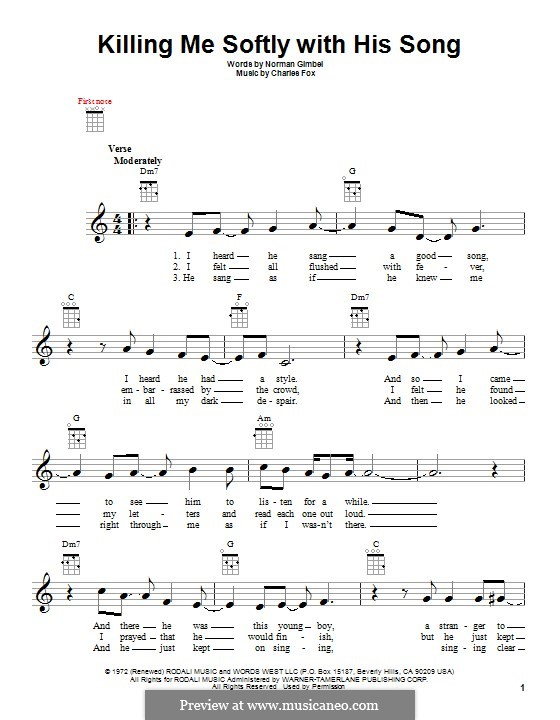Killing Me Softly with His Song: para ukulele by Charles Fox
