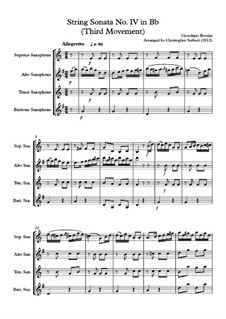 Sonata for strings No.4 in Bb: Movement III. Arrangement for saxophone quartet by Gioacchino Rossini