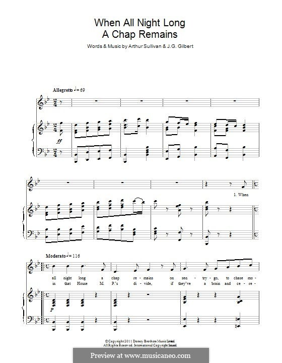 When All Night Long a Chap Remains: Para vocais e piano by Arthur Seymour Sullivan