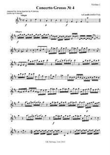 Concerto Grosso No.4: partes - para quarteto de cordas by Arcangelo Corelli