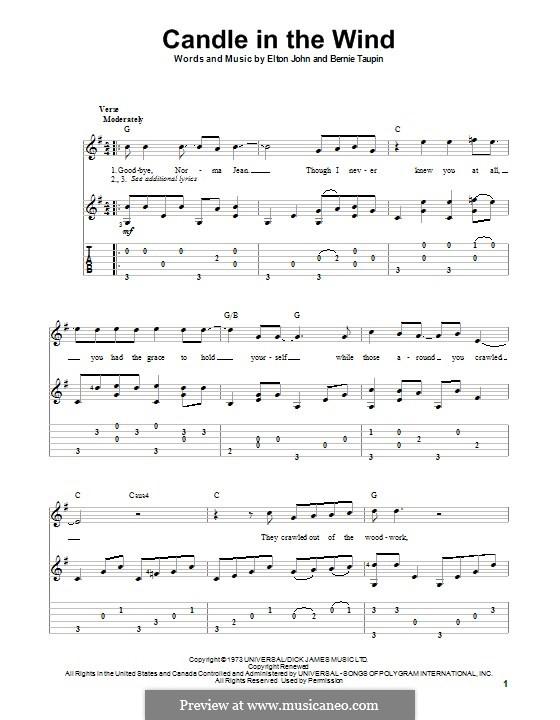 Candle in the Wind: Para guitarra com guia by Elton John
