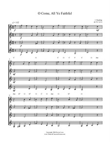 O Come, All Ye Faithful (Adeste Fideles): For guitar quartet - score and parts by John Reading