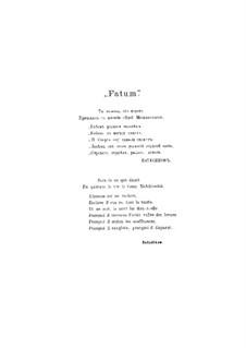 Fatum. Symphonic Fantasia, TH 41 Op.77: para piano de quadro mãos by Pyotr Tchaikovsky