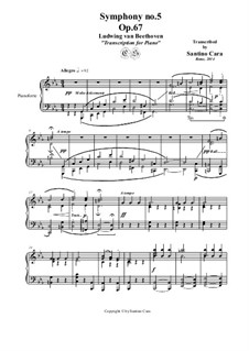 Complete Symphony: Movements III-IV. Version for piano by Ludwig van Beethoven