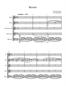 Rêverie, L.68: For wind quintet – score by Claude Debussy