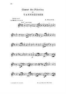 Choir of Pilgrims: For violin (or mandolin) by Richard Wagner