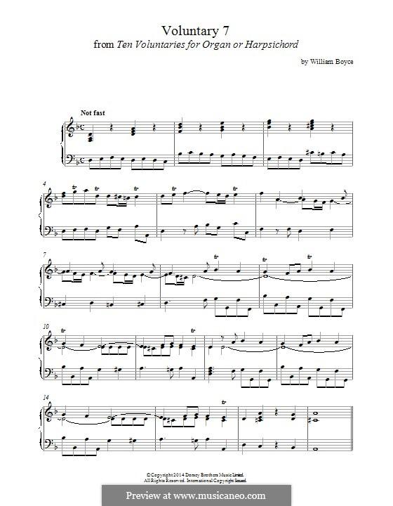 Ten Voluntaries for Organ (or Harpsichord): Voluntary No.7 by William Boyce