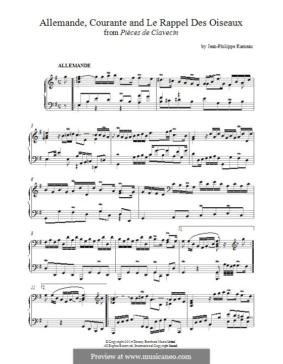 Harpsichord Pieces: Allemande, Courante and 'Le Rappel des Oiseaux' by Jean-Philippe Rameau