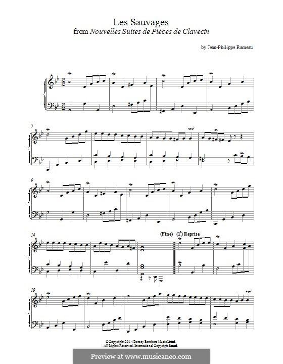 Nouvelles suites de pièces de clavecin: Les Sauvages. Version for piano by Jean-Philippe Rameau