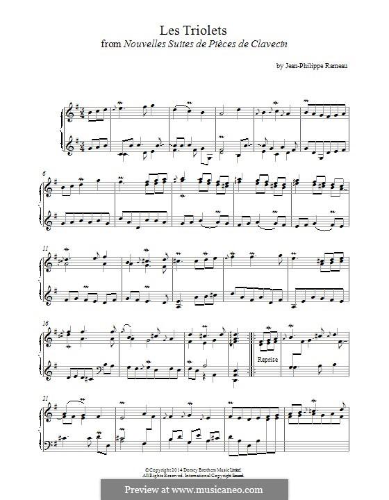 Nouvelles suites de pièces de clavecin: Les Triolets. Version for piano by Jean-Philippe Rameau