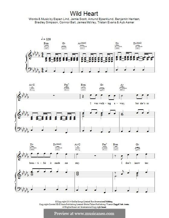 Wild Heart (The Vamps): Para vocais e piano (ou Guitarra) by Amund Bjorklund, Ben Harrison, Espen Lind, Jamie Scott, Ayb Asmar, Bradley Simpson, Connor Ball, James McVey, Tristan Evans