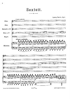 Sextet for Piano and Winds, Op.6: Partitura completa by Ludwig Thuille