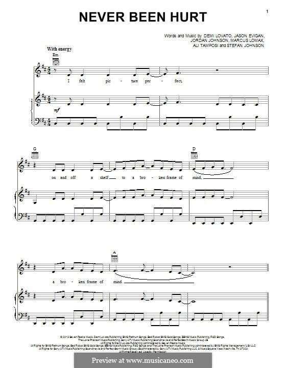 Never Been Hurt: Para vocais e piano (ou Guitarra) by Demi Lovato, Alexandra Tamposi, Jason Evigan, Marcus Lomax, Stefan Johnson, Jordan Johnson