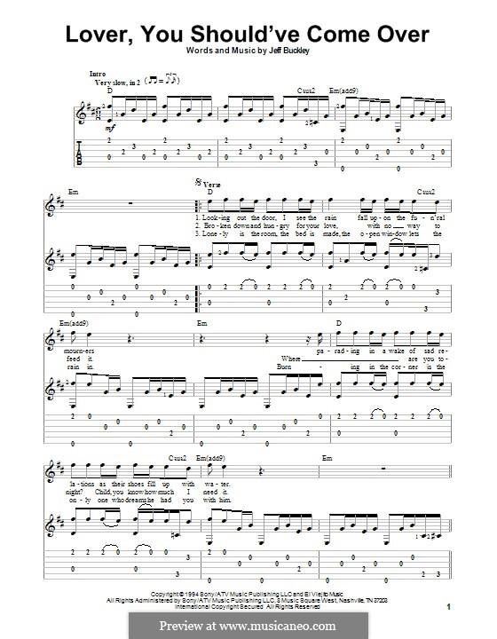 Lover, You Should've Come Over: Para guitarra com guia by Jamie Cullum, Jeff Buckley