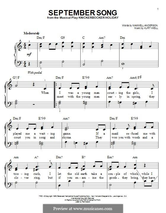 September Song: Para Piano by Kurt Weill