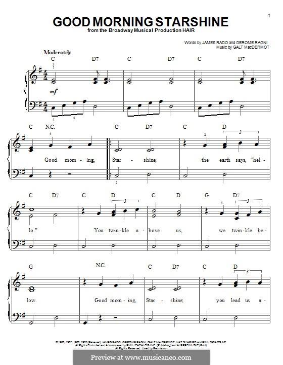 Good Morning Starshine (from Hair): Para Piano by Galt MacDermot