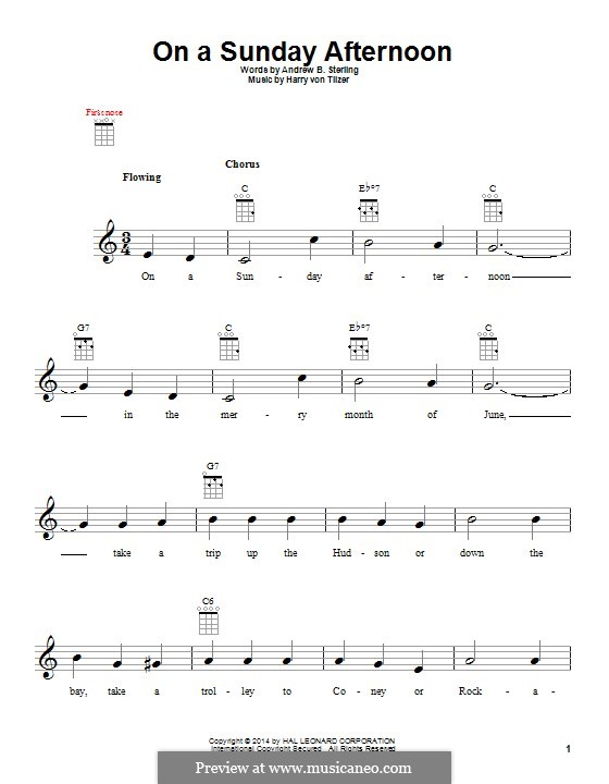 On a Sunday Afternoon: para ukulele by Harry von Tilzer