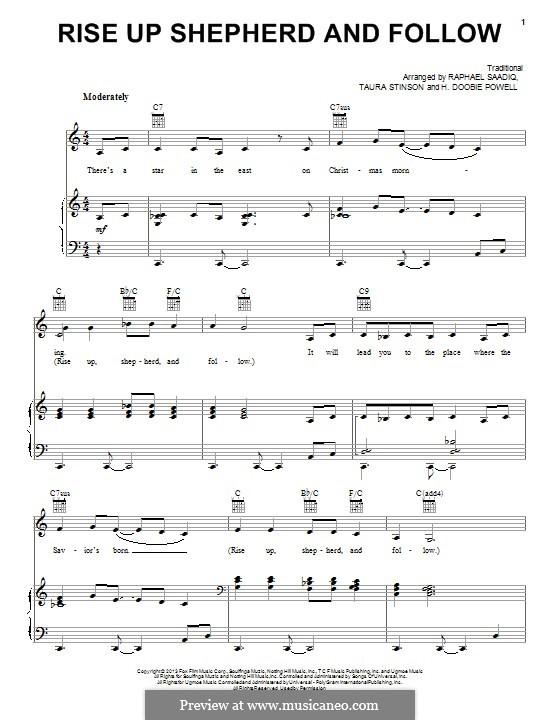 Rise Up, Shepherd, and Follow: Para vocais e piano (ou Guitarra) by folklore