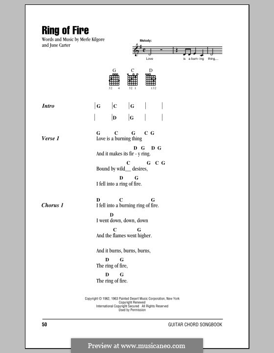 Ring of Fire: Letras e Acordes by June Carter, Merle Kilgore