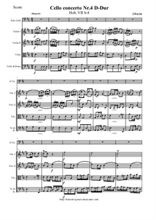 Concerto for Cello and Orchestra No.4 in D Major, Hob.VIIb/4: Score and all parts by Joseph Haydn