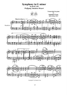 Movement III: arranjo para piano by Wolfgang Amadeus Mozart